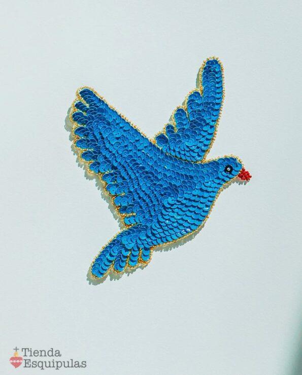 Ecusson à coudre en sequins - colombe bleue