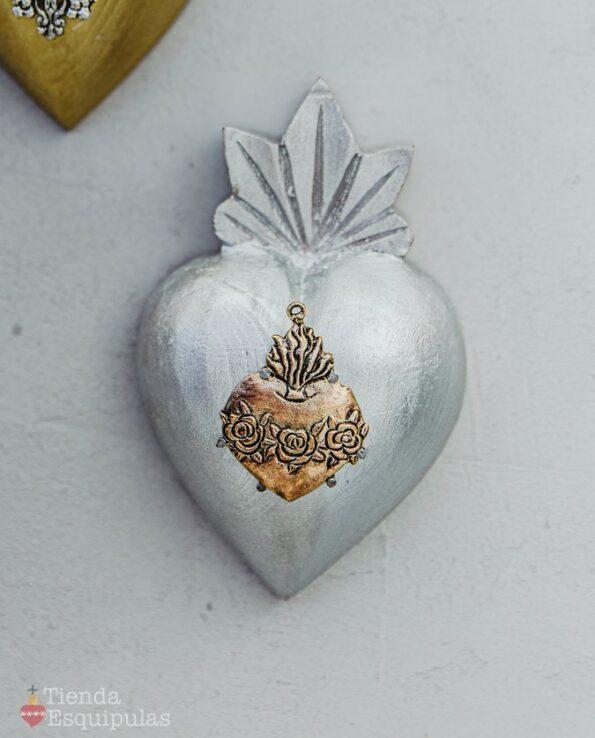 Coeur milagro couleur argentée