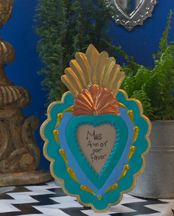 Cadre coeur antigua - turquoise vif