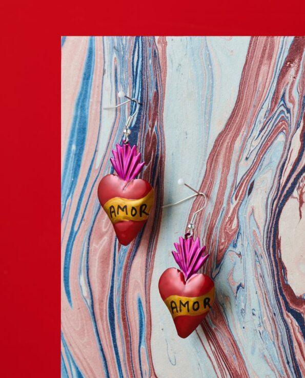 Boucles d'oreille coeur ex-voto - Amor