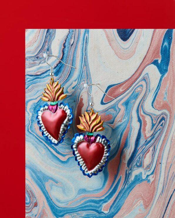 Boucles d'oreille coeur ex-voto - flama dorada