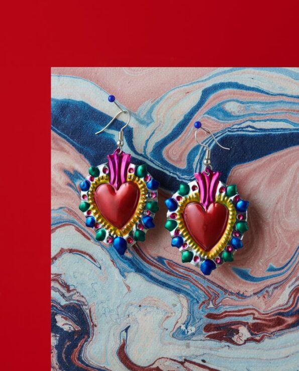 Boucles d'oreille coeur ex-voto - picos