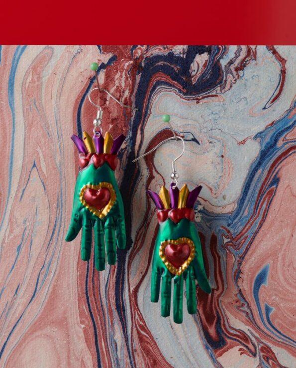 Boucles d'oreille main coeur - Vert