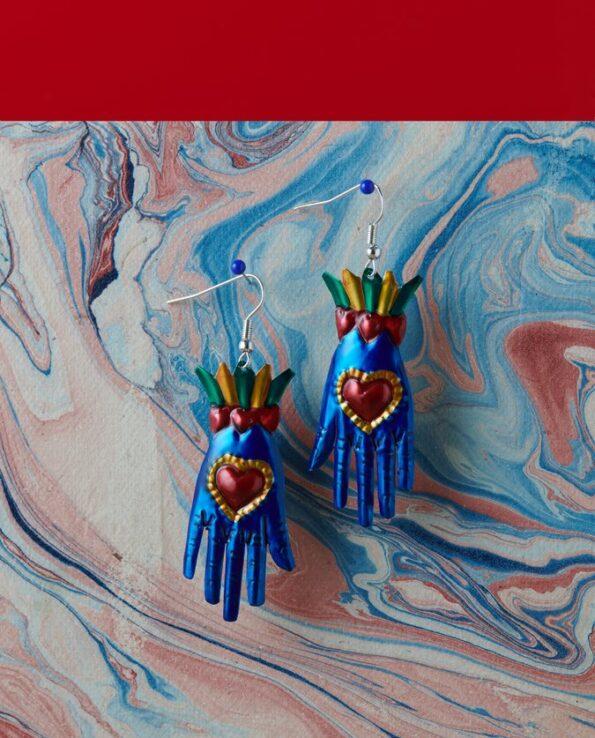 Boucles d'oreille main coeur - Bleu