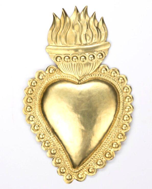 Coeur ex-voto laiton flamme ardente