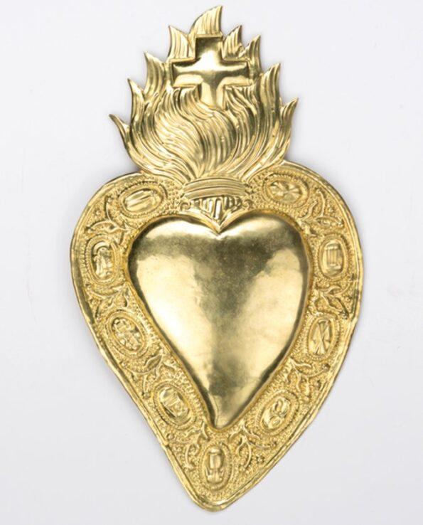 Coeur ex-voto laiton couronne de symboles