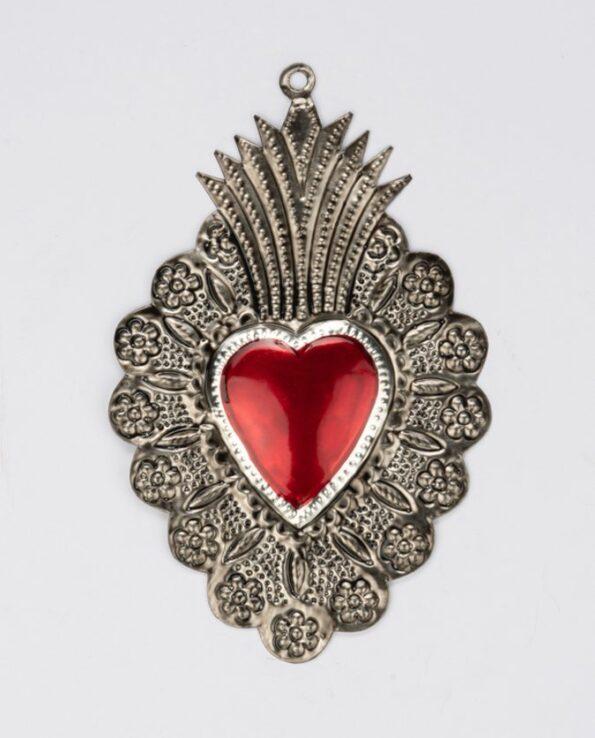 Coeur ex-voto couronne de fleurs - Métal patiné
