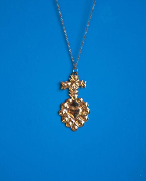 Ex voto coeur croix et laurier - pendentif